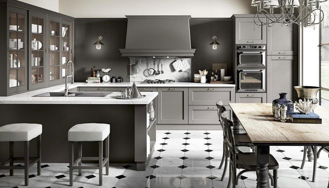 Cucina Shabby colore grigio opaco